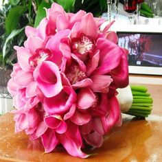 Fucsia Bridal Hand-Tied Bouquet [TFM-WB320] : Terra Flowers Miami - Wedding Florists - Flowers Roses and Bouquets