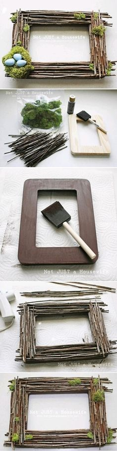 DIY Picture Frames, I would sub the nest for a wild flower.