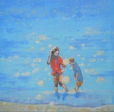 Paddling - Beach Scenes - Print of an 0riginal Impressionist  Oil Painting.