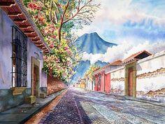 Calle de Antigua. pinturasde guatemala - Buscar con Google