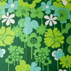 vintage cotton fabric floral green aqua teal turquoise