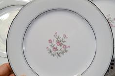 Vintage Noritake Stanton Salad Plate Set of 8 Pink Roses Floral Platinum Gray Rim 5407 Japan Replacement PanchosPorch Platinum Grey, Noritake, Salad Plates, Vintage China, Plate Sets, Cottage Chic, Pink Roses, Japan, Gray