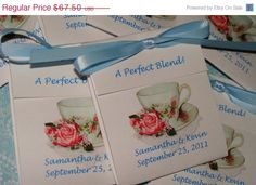 ON SALE 50 Classy Pretty in Pink Coral Roses Teacup Personalized Tea Bag Wedding and Bridal Shower Party Favors CIJ
