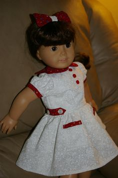 18 inch 1930s doll dress and hair bow perfect for by sandidoll, $18.00