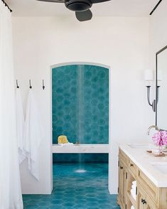 This modern Spanish hacienda on the sands of San Jose del Cabo is certainly a golden retreat for the large family that lives there. I love the earthy luxury of this home. Natural materials, a weightin Spanish Style Bathrooms, Spanish Bathroom, Spanish Style Homes, Modern Bathroom, Spanish Revival, Shower Bathroom, Shower Floor, Cement Tiles Bathroom, Tiled Bathrooms
