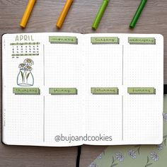 "BuJo and cookies su Instagram: ""Hi everyone! 🤗 Here's my fourth #weeklyspread of April! 🌼 For this week I decided to use a simple layout from my YouTube video 5 Weekly…"""