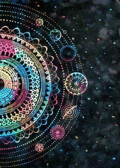 The solar system Mandala Mandala Art, Mandalas Painting, Mandalas Drawing, Mandala Wallpaper, Wallpaper Backgrounds, Iphone Wallpaper, Phone Backgrounds, Psychedelic Art, Photoshoot Idea
