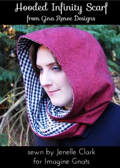 Cool combo scarf/hood.  Pattern via Gina Renee Designs (Etsy shop:  https://www.etsy.com/listing/172141853/hooded-scarf-pattern-hood-scarf-sewing?ref=shop_home_active_2)