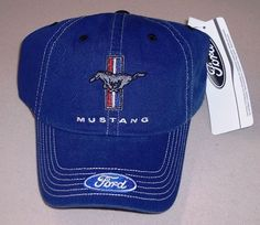 NEW BLUE FORD MUSTANG COBRA SVT MACH RED WHITE BLUE PONY AND BARS TRIBAR HAT  CAP 5986e63d8b89