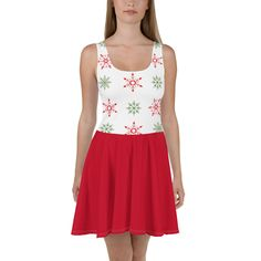 Holiday Snowflake Skater Dress, Christmas Party Dress, Red Green White, Sizes XS-3XL Plus Size Christmas Dresses, Flare Skirt, Dress Red, Skater Dress, Red Green, Soft Fabrics, Dress To Impress, Hemline, Party Dress