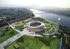 Image 7 of 12 from gallery of Winning Design Revealed for New Complex Around Seoul's Olympic Stadium. Courtesy of NOW Architects Stadium Architecture, Concept Architecture, Futuristic Architecture, Olympic Village, Sports Stadium, Sports Complex, Futuristic City, House By The Sea, Football Stadiums