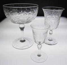RARE SET 18 Piece HAWKES INTAGLIO ENGRAVED CUT Glass WINE SHRIMP COCKTAIL SIGNED