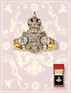 "Emperor Franz Joseph I. of Austria – gift ring, gold, diamonds (ca. 1 carat old cut diamonds), enamel, Emperor's monogram ""FJI"" with imperial Austrian crown, size RW 62, overall weight 6,8 g, maker's mark AEK = A. E. Köchert, Viennese chamois hallmark 1872-1922, in original leather case by the court jeweller A. E. Köchert Vienna."
