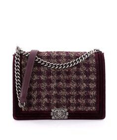 Chanel Pre-Owned: Paris-Edinburgh Boy Flap Bag Quilted Tweed With Velvet Large