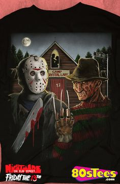 American Gothic Slashers T-Shirt: Nightmare On Elm Street Mens T-Shirt This popular slasher film shirt is artfully  designed and illustrated.