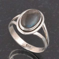 BLUE FIRE LABRADORITE 925 SOLID STERLING SILVER FASHION RING 3.42g DJR6404 #Handmade #Ring