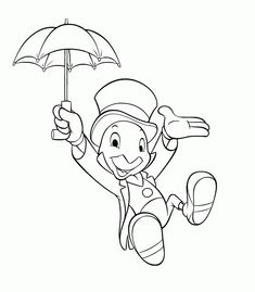 Jiminy cricket coloring page. Hellokids members love this Jiminy cricket coloring page. You can choose other coloring pages for kids from Pinocchio . Coloring Pages For Boys, Cartoon Coloring Pages, Coloring Book Pages, Free Coloring, Coloring Sheets, Adult Coloring, Kids Coloring, Pinocchio, Disney Sleeve