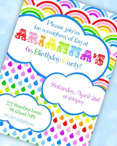 RAINBOW Party Invitation - Rainbow of Fun Collection - Gwynn Wasson Designs PRINTABLES via Etsy