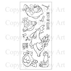CS132D 'Funky Chicken' Clear set contains 11 stamps. Designed by Sharon Bennett. Overall size of set - 100mm x 260mm approx. All our clear stamps are made with photopolymer resin.                                $10.99