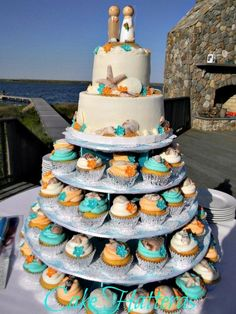 Nice way to do cupcakes and have your cake too! beach wedding cakes and cupcakes Beach Wedding Cakes Ideas