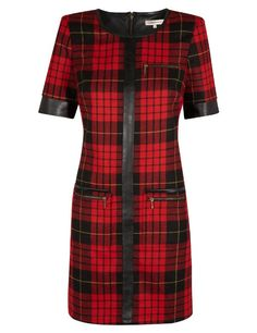 Limited Edition Faux Leather Trim Tartan Checked Shift Dress with Wool - Marks & Spencer