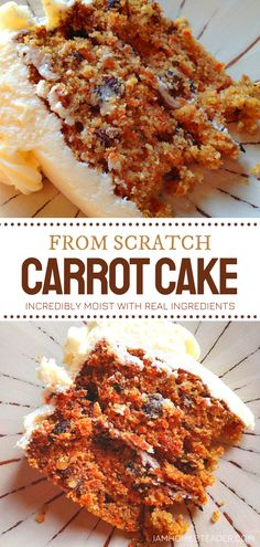 You'll have to raid your garden for this amazing From-Scratch Carrot Cake! This easy recipe is ideal for beginners. Made from real ingredients, the flavor of this incredibly moist homemade treat is delightful. Perfection in every bite! Try it with cream cheese frosting! Pie Recipes, Baking Recipes, Moist Carrot Cakes, Yummy Food, Tasty, My Cookbook, Sweet Desserts, Yummy Cakes, Amazing Cakes
