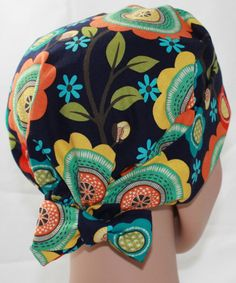 75fcbe09770 Women s Tie Back Surgical Scrub Hat  Chemo hat with band. Navy Stitch Floral  Michael Miller Fabric