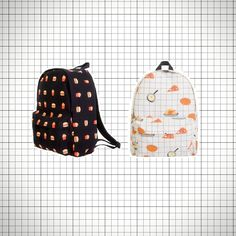 Super cute canvas backpacks with food pattern print! Choose between breakfast (a white grid print backpack with eggs, waffles, breakfast pizza and an entire chicken (!) printed all over) and dinner (black backpack with repeating burger and fries print).   Available in two sizes, medium and larg...