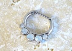 16 Gauge White Opalite Crystal Septum Ring Clicker Daith Ring Nose Piercing