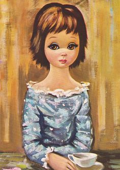 Vintage Eden Big Eyed Girl Print 5x7 Lithograph by vintagegoodness, $11.95