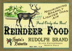Vintage Christmas Label Digital Download Collage Sheet Printable Reindeer Food - Tag Card Scrapbook Image