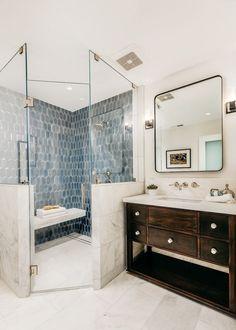 - Modern White Interior - House from Full House = Master Bathroom Ideas - Bathroom Ideas Bathroom Layout, Modern Bathroom Design, Bathroom Interior Design, Modern Interior Design, Classic Bathroom, Bath Design, Tile Design, Bathroom Colors, Design Kitchen