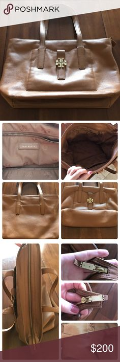 """Tory Burch Meyer Plaque Tote Approx. measurements: 14.5"""" bottom  - 17.25"""" Top (length)  - 11.25"""" height - 5.25"""" d 9"""" handle drop  Features:  Zip top closure  One outside flap with magnetic piece  One outside pouch on back 1 zippered pocket inside 3 open pockets inside (1 with snap)   Pre loved and has flaws  *lining pieces around handles are coming off/ some spots are dirty.  *area on strap (on the front by the magnetic pouch) stitching came undone.  Same area a little glue?? And a pen mark…"""