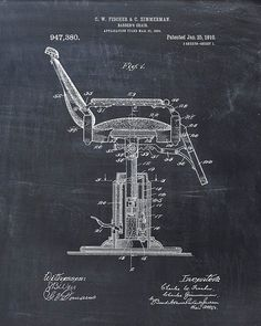 Barber's Chair Patent Print Patent Art Print by VisualDesign Barber Gifts, Barbershop Design, Barbershop Ideas, Chalkboard Decor, Patent Drawing, Patent Prints, Barber Shop, Fine Art Paper, Printer