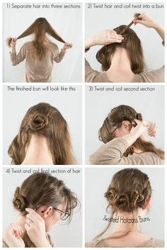 #Twist #Buns  #hairstyle #tutorial  Three small cross twisted mini buns Separate hair into three sections, pin three small buns, twist hair from front side of head and twist around buns.