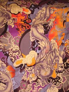 Tatsu dragon cotton fabric by Alexander Henry