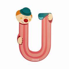 Lettres alphabet Clown en bois<BR>Lettre U<BR>JANOD