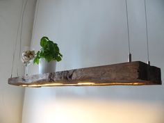Hanging lamp made from old wood boards - Hängelampe aus antiken Balken