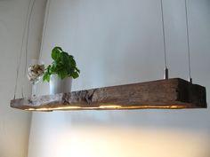 Hanging lamp made from old wood boards - Hängelampe aus antiken Balken