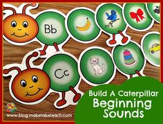 Fun springtime activity for working with beginning sounds. Word family caterpillars too!