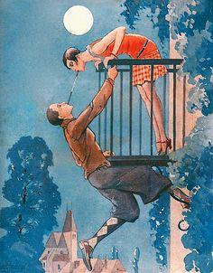 Vintage Clothes illustration from La Vie Parisienne, June 1928 by Valde. Art Deco Posters, Vintage Posters, Vintage Art, Vintage Drawing, Art Deco Illustration, Art Deco Stil, Kunst Poster, Art Deco Fashion, Cover Art