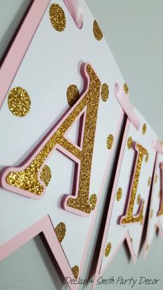 pink and gold first birthday*pink and gold minnie mouse*pink and gold high chair banner*pink and gold age banner*pink and gold party decor Birthday Poems, Diy Birthday Banner, Diy Birthday Decorations, Minnie Birthday, Girl First Birthday, Birthday Parties, Happy Birthday, Childrens Party, Pink And Gold