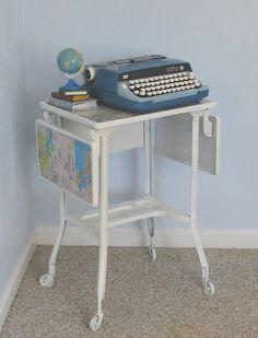 Map On Typewriter Table.