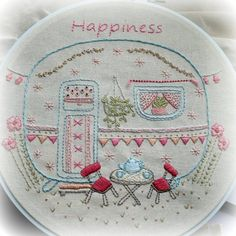 little caravan embroidery pattern PDF image 1 Folk Embroidery, Hand Embroidery Patterns, Vintage Embroidery, Cross Stitch Embroidery, Machine Embroidery, Sewing Projects, Etsy, Simple, Tiny Camper
