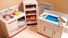 Vintage Wolverine Tin Toy Kitchen Oven Sink Refrigerator Set With Food & Dishes #Wolverine