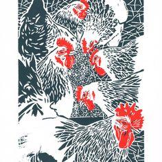 Hens - Flock of White Sussex Hens - Original linocut print £38.00