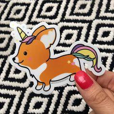 Unicorn Corgi Vinyl Sticker