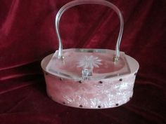 Rare Pink lucite bakalite purse vintage purse carved flower MidCentury 1950s