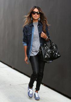Fashionable Denim Jacket with Trendy Skinnies