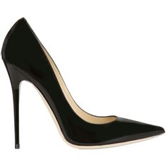 Jimmy Choo Women 120mm Anouk Patent Leather Pumps (€545) ❤ liked on Polyvore featuring shoes, pumps, heels, black, black patent leather pumps, black pointy toe pumps, black high heel pumps, black patent pumps and jimmy choo shoes